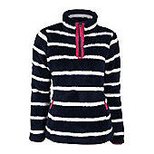 Nessy Stripe Warm Winter Super Soft Womens Fleece with Zip - Blue