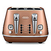 Delonghi CTI4003 4-Slice Toaster, 1800w Power, Reheat Function in Copper