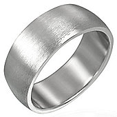 Urban Male Brushed Finish Plain 8mm Men's Ring In Stainless Steel