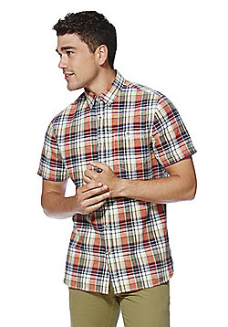 F&F Checked Linen Blend Contemporary Fit Short Sleeve Shirt - Orange