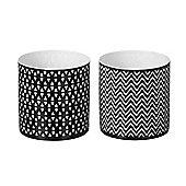 Parlane Set of Two Modern Patterned Ceramic Tea Light Holders - 8 x 8cm