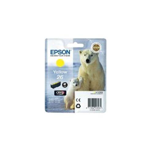 Epson Polar Bear 26 Yellow Claria Premium Ink Cartridge (RF) for Expression Premium XP-600/XP-605/XP-700/XP-800 All-in-One Inkjet Printers