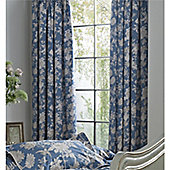 Kew Gardens Tea Rose Pencil Pleat Lined Curtains 66x72 - Teal