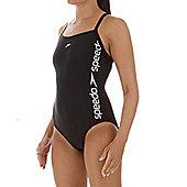Speedo Women's Liquid Win Thin Strap Muscleback Swimsuit - Black - rrp 28 - Black