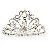 Bridal/ Wedding/ Prom/ Party Rhodium Plated Swarovski Crystal, Simulated Pearl Hair Comb/ Tiara - 10.5cm