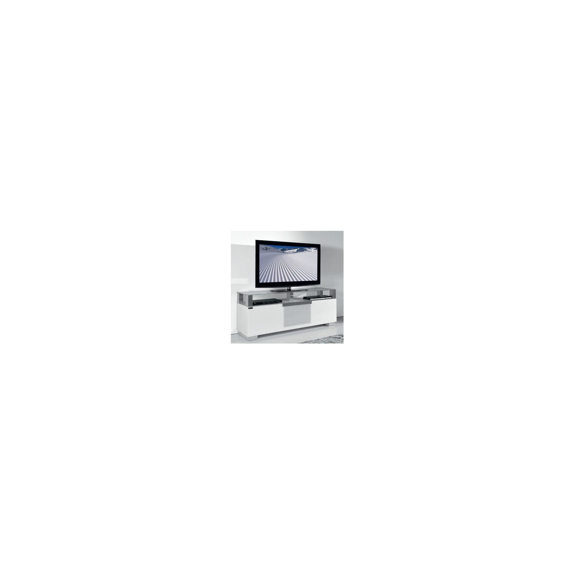 Triskom Wooden TV Stand for LCD / Plasmas with Three Shelves - White Glass at Tesco Direct