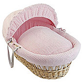 Clair De Lune Honeycomb  Natural Wicker Moses Basket, Pink