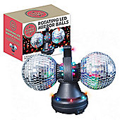 Twin Rotating LED Mirror Disco Balls