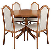 Caxton Lichfield Single Pedestal 4 Chair Dining Set