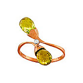 QP Jewellers Diamond & Peridot Duo Briolette Ring in 14K Rose Gold