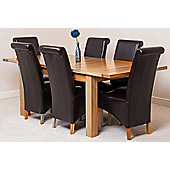 Seattle Solid Oak Extending 150 - 210 cm Dining Table with 6 Brown Montana Leather Chairs