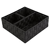 Black Woven Nylon Fibre Shelf Baskets, Set of 4