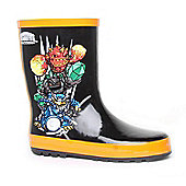 Skylanders Giants Character Junior Boys Wellington Black/Orange Winter Boots Slip-on Wellington Boots - Black