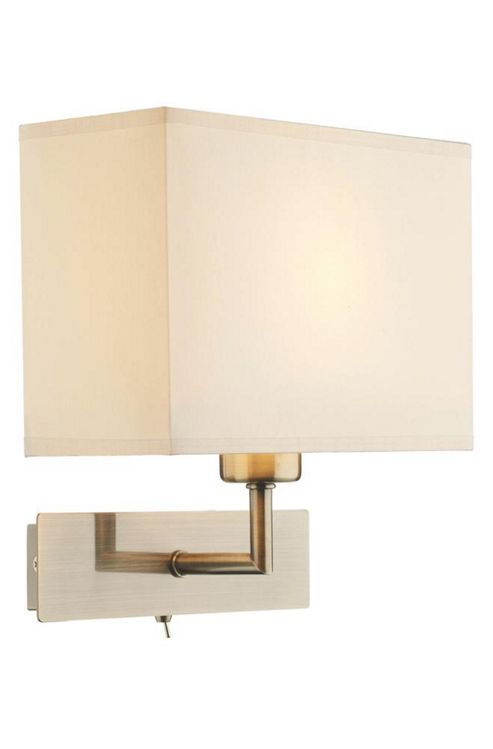 Wall Light No Shade : Stylish Brass Wall Light With Toggle Switch And Linen Shade 00616909890828