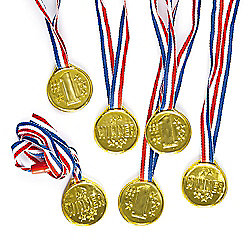 Party Bag Gold Winning Medals (Pack of 6)