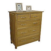 Moda Solid Oak 2 Over 3 Chest Of Drawers