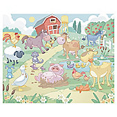 Baby Fun on the Farm Wallpaper Mural 8ft x 10ft