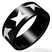Urban Male Modern Men's Black Stainless Steel 8mm Star Ring