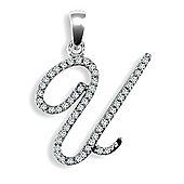 9ct White Gold Diamond Script Initial Identity Pendant - Letter U