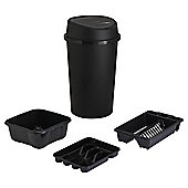 Tesco 4pc Kitchen Set With Touch Bin - Black