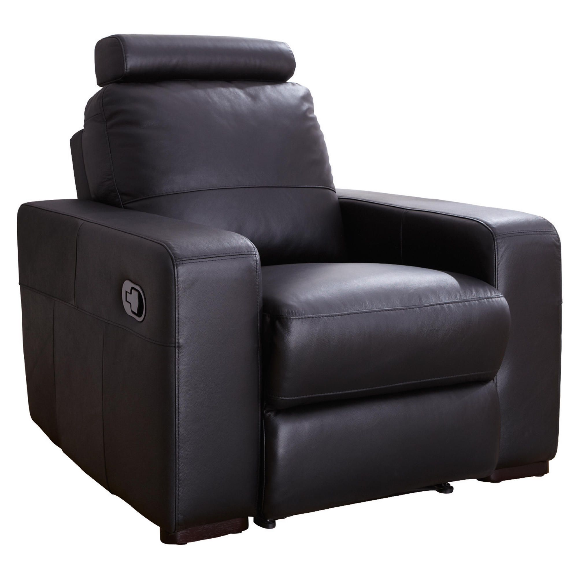 Barcelona Leather Recliner Armchair Black at Tesco Direct