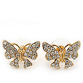 Gold Plated Clear Swarovski Crystals 'Butterfly' Stud Earrings - 2cm Length
