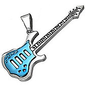 Urban Male Stainless Steel Electric Blue Guitar Pendant