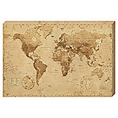 Vintage Sepia World Map Canvas, 91x61cm