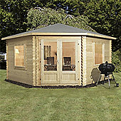 13ft x 13ft (4m x 4m) Corner Log Cabin (Double Glazing) + Large Windows 44mm