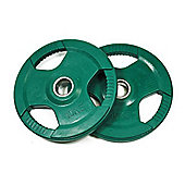Bodymax Olympic Coloured Rubber Radial Weight Plates - 2 x 10kg (Green)