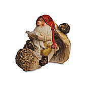 Sitting Reading Gnome On Rustic Mushroom Ornament