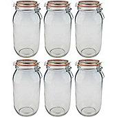 Argon Tableware Preserving / Biscuit Glass Storage Jars - 2000ml - Pack of 6