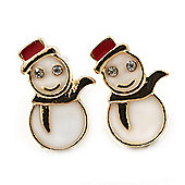 Children's/ Teen's / Kid's Small White, Red Enamel 'Snowmen' Stud Earrings In Gold Plating - 15mm Length