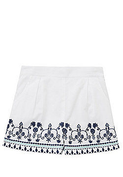 F&F Embroidered Shorts - White & Blue