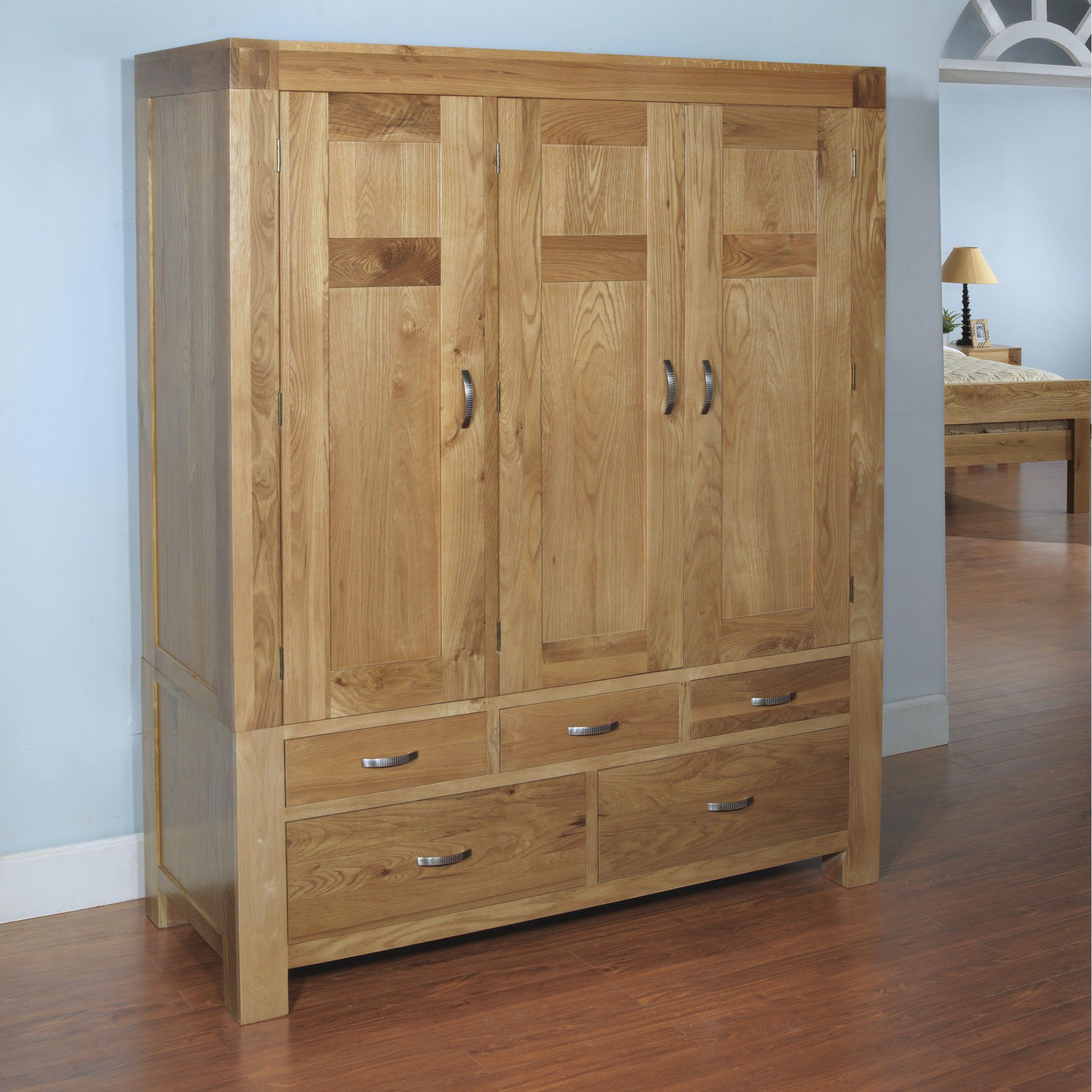 Hawkshead Rustic Oak Blonde Triple Wardrobe at Tesco Direct