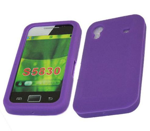 iTALKonline SoftSkin Silicone Case Purple - For Samsung S5830 Galaxy Ace