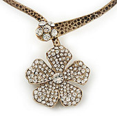 Clear Swarovski Crystal 'Flower' Pendant Hammered Collar Necklace In Burn Gold Finish - 38cm Length