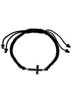 Sterling Silver Black CZ Cross on Black Cotton Adjustable Bracelet