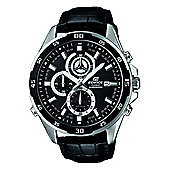 Casio Edifice Mens Black Leather Chronograph Date Watch EFR-547L-1AVUEF