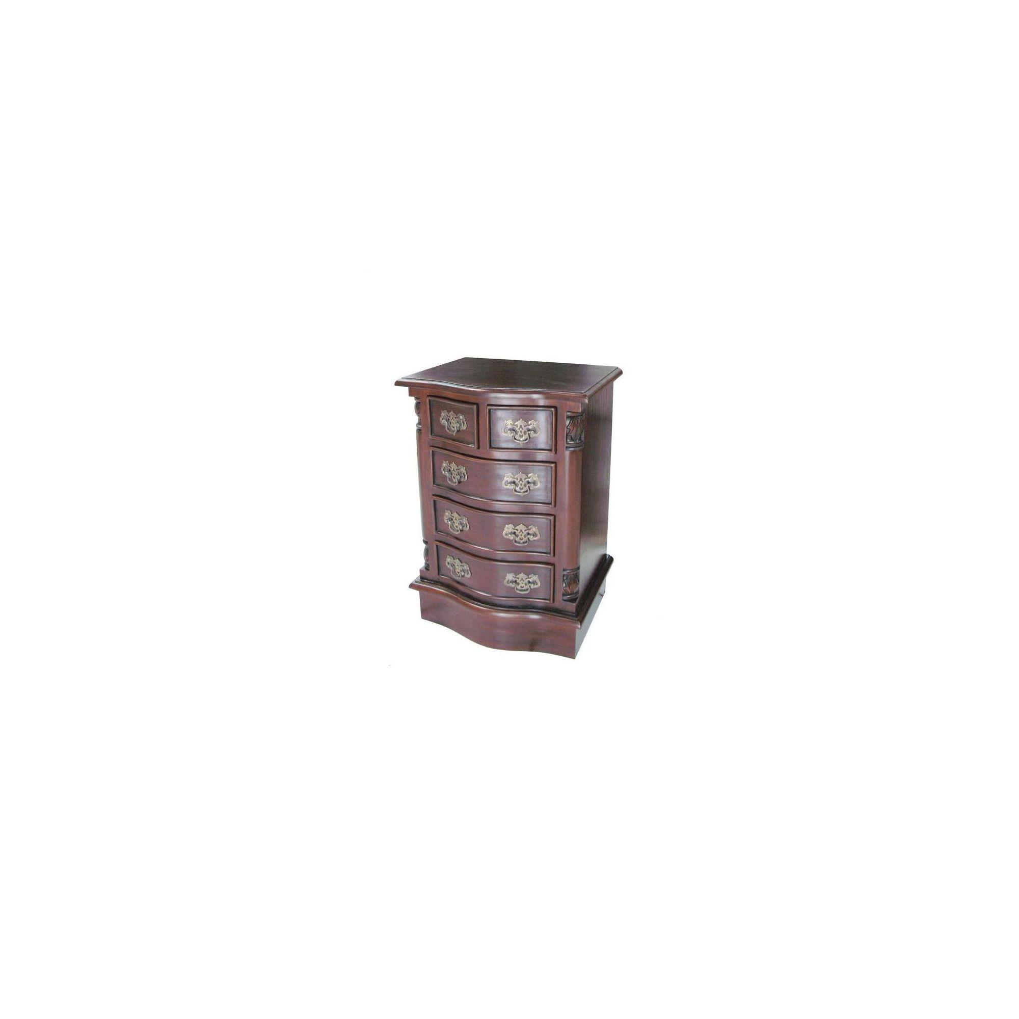 Lock stock and barrel Mahogany 5 Drawer Bowfront Bedside Table in Mahogany - Wax at Tesco Direct