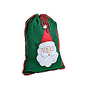 Green Felt Santa Sack Christmas Gift Bag with Stitched Father Christmas Design - Small