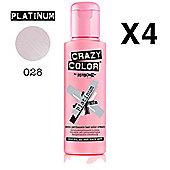 4 X Crazy Color Renbow Semi-Permanent Hair Colour Cream Dye 100ml Box of Four-Platinum