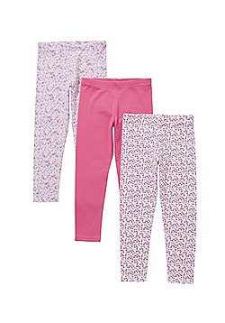 F&F 3 Pack of Floral and Plain Leggings - Pink & Multi