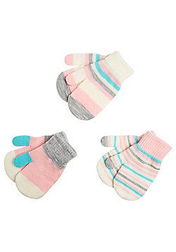 F&F 3 Pair Pack of Striped Mittens - Multi