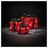 Set Of 3 Red And Green Light Up Parcels