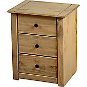 Panama 3 Drawer Bedside Chest Natural Wax