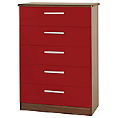 Welcome Furniture Knightsbridge 5 Drawer Chest - Oak - Ruby