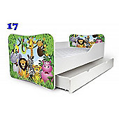 Toddler Bed With Drawer and Mattress - Zoo (Medium)