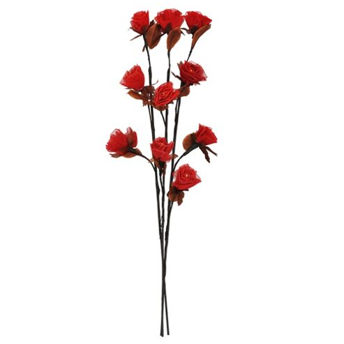 Decorative Brown Twig Lights with Red Roses