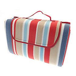 Country Club Family Size Beach & Picnic Blanket 150 x 200cm, Red & Blue Stripes
